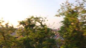 Train journey window view stock footage