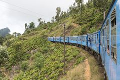 Train from Kandy to Ella in Sri Lanka. The train ride from Kandy to Ella is one of the most beautiful travels by train in the world. For seven hours the train is Stock Image
