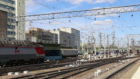 Train on Kazansky railway terminal ( Kazansky vokzal) -- is one of nine railway terminals in Moscow, Russia. Construction of the modern building according to stock video