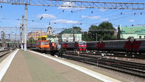 Train on Kazansky railway terminal ( Kazansky vokzal) -- is one of nine railway terminals in Moscow, Russia. Construction of the modern building according to stock footage