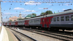 Train on Kazansky railway terminal ( Kazansky vokzal) -- is one of nine railway terminals in Moscow, Russia. Construction of the modern building according to stock video footage