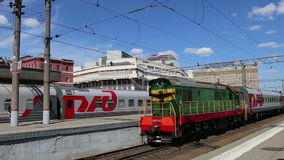 Train on Kazansky railway terminal  Kazansky vokzal and passengers.  stock video footage