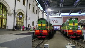 Train on Kazansky railway terminal ( Kazansky vokzal) and passengers -- is one of nine railway terminals in Moscow, Russia. Construction of the modern building stock video footage