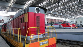 Train on Kazansky railway terminal ( Kazansky vokzal) and passengers -- is one of nine railway terminals in Moscow, Russia. Construction of the modern building stock video