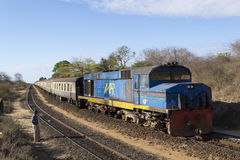 Train of the Kenyan Railways on the historic Uganda railway Stock Photography