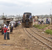 Train through Kibera Royalty Free Stock Image