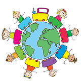 Train with kids around the world. Colorful train with smiling kids around the each planet stock illustration