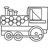Train kids coloring pages geometrical figures Royalty Free Stock Image