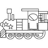 Train kids coloring pages geometrical figures Stock Images