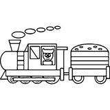 Train kids coloring pages geometrical figures Stock Photo