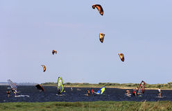 Train kiters and windsurfers Veselovka Stock Photo