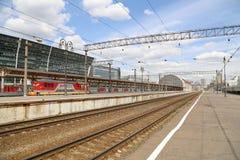 Train on Kiyevskaya railway station  (Kiyevsky railway terminal,  Kievskiy vokzal) --Moscow, Russia Stock Photography