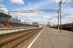 Train on Kiyevskaya railway station  (Kiyevsky railway terminal,  Kievskiy vokzal) --Moscow, Russia Royalty Free Stock Photography