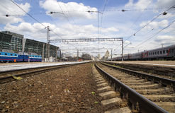 Train on Kiyevskaya railway station  Kiyevsky railway terminal,  Kievskiy vokzal --Moscow, Russia Stock Photo