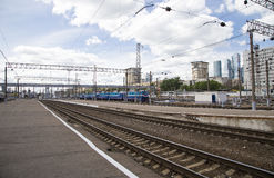 Train on Kiyevskaya railway station  Kiyevsky railway terminal,  Kievskiy vokzal --Moscow, Russia Stock Images