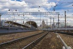 Train on Kiyevskaya railway station  Kiyevsky railway terminal,  Kievskiy vokzal --Moscow, Russia Stock Photos