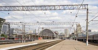 Train on Kiyevskaya railway station  Kiyevsky railway terminal,  Kievskiy vokzal --Moscow, Russia Royalty Free Stock Image