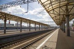 Train on Kiyevskaya railway station  Kiyevsky railway terminal,  Kievskiy vokzal --Moscow, Russia Royalty Free Stock Photo