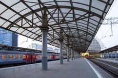 Train on Kiyevskaya railway station  Kiyevsky railway terminal,  Kievskiy vokzal --Moscow, Russia Stock Image