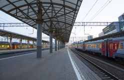 Train on Kiyevskaya railway station  Kiyevsky railway terminal,  Kievskiy vokzal --Moscow, Russia Stock Photography
