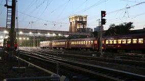 Train on Kiyevskaya railway station  (Kiyevsky railway terminal,Kievskiy vokzal) at night stock video