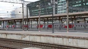 Train on Kiyevskaya railway station  (Kiyevsky railway terminal,Kievskiy vokzal) stock video