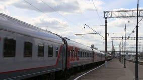 Train on Kiyevskaya railway station  (Kiyevsky railway terminal,Kievskiy vokzal) stock footage