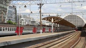 Train on Kiyevskaya railway station  (Kiyevsky railway terminal,Kievskiy vokzal) stock video footage