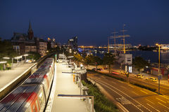 Train at landing stage in Hamburg Stock Image