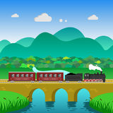 Train landscape mountains hills forest river. Retro train landscape mountains hills forest bridge over river Stock Photo