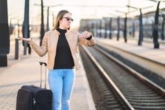 Train late, delayed, canceled or behind schedule. royalty free stock photography