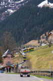 Train in Lauterbrunnen valley in Switzerland Royalty Free Stock Photos
