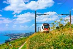 Train in Lavaux Vineyard Terraces Lake Geneva Swiss mountains. Lavaux, Switzerland - August 30, 2016: Running train in Lavaux Vineyard Terraces hiking trail at royalty free stock photos