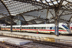 Train leaves the central railway station Stock Photography