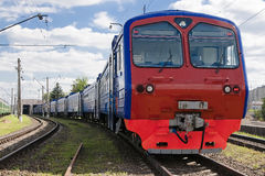 The train leaves the depot. At suburban stations Royalty Free Stock Images