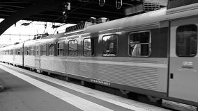 Train leaves the station. In bw stock video footage