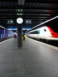 Train Leaving. Trains leaving station. Taken with slow shutter speed Royalty Free Stock Photo