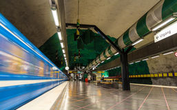 Train leaving Huvudsta metro station Royalty Free Stock Images