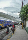 Train Leaving Ollantaytambo Station Stock Image