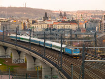 Train leaving Prague main railway station Stock Images