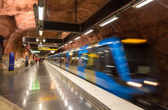 Train leaving Radhuset metro station Royalty Free Stock Photography