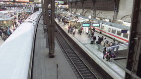Train is leaving railway station terminal stock footage