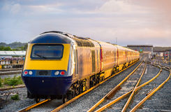 Train leaving Reading station in England Royalty Free Stock Images