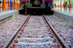 Train leaving the station. Kerr Thailand railway train is coming now Stock Photo
