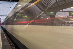 Train leaving the station of Zurich - 8 Royalty Free Stock Photos