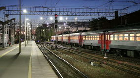 Train on Leningradsky railway station at night -- is one of the nine main railway stations of Moscow, Russia.  stock footage