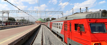Train on Leningradsky railway station-- is one of the nine main railway stations of Moscow, Russia Royalty Free Stock Images