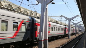 Train on Leningradsky railway station-- is one of the nine main railway stations of Moscow, Russia.  stock video