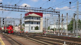 Train on Leningradsky railway station-- is one of the nine main railway stations of Moscow, Russia.  stock footage