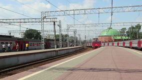 Train on Leningradsky railway station-- is one of the nine main railway stations of Moscow, Russia.  stock video footage